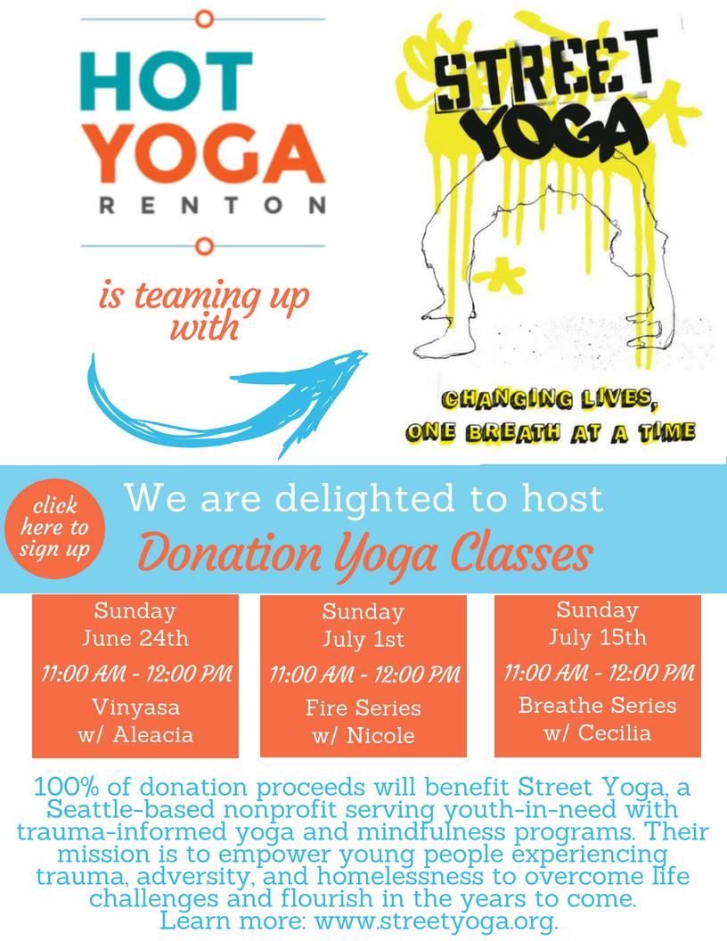 Street Yoga Donation Class Hot Yoga Renton